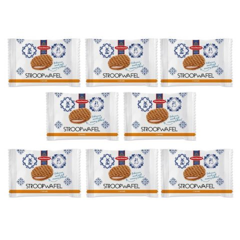 Individually Wrapped Mini Caramel Wafers Dutch Waffles Biscuits Stroopwafels Daelmans 7g